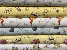 fabric shack sewing quilting sew fat quarter cotton patchwork quilt harry potter icons hedwig quidditch spells phoenix dumbledore hogwards potions platform train wand