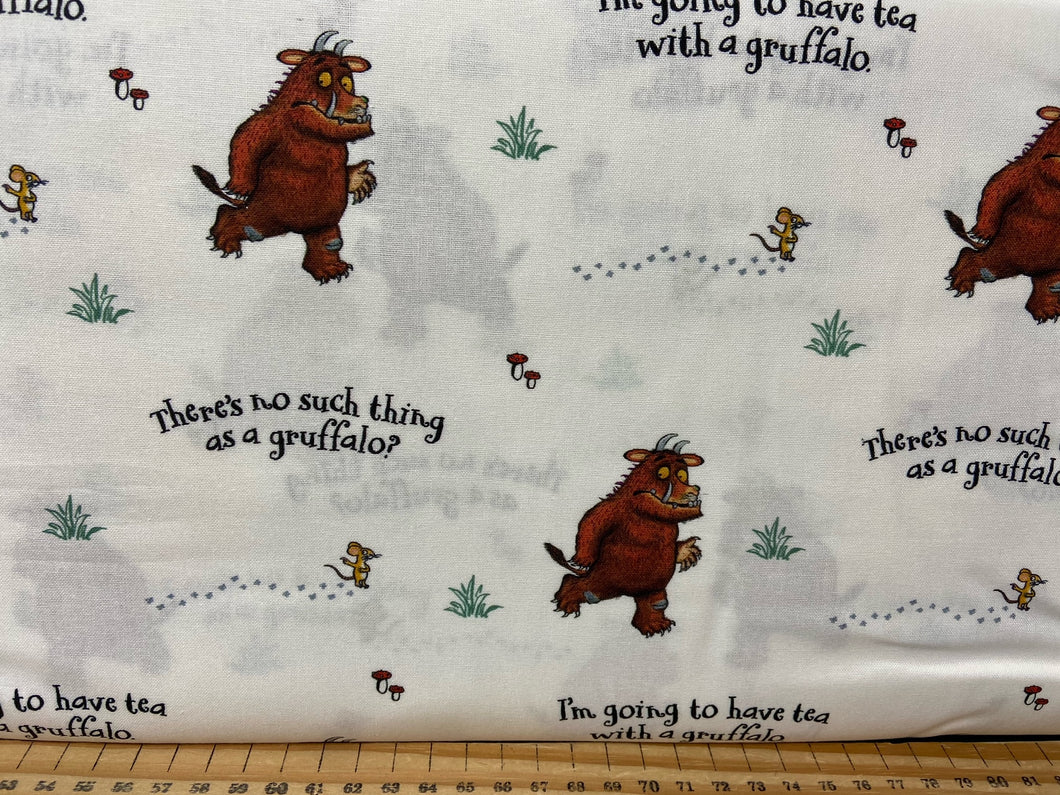 fabric shack sewing quilting sew fat quarter cotton patchwork quilt julia donaldson the gruffalo woods woodland fox owl mouse not such thing white