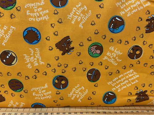 fabric shack sewing quilting sew fat quarter cotton patchwork quilt julia donaldson the gruffalo woods woodland fox owl mouse scariest orange