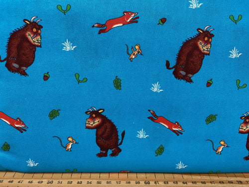 fabric shack sewing quilting sew fat quarter cotton patchwork quilt julia donaldson the gruffalo woods woodland fox owl mouse scariest turquoise