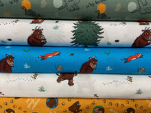 fabric shack sewing quilting sew fat quarter cotton patchwork quilt julia donaldson the gruffalo woods woodland fox owl mouse stack