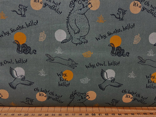 fabric shack sewing quilting sew fat quarter cotton patchwork quilt julia donaldson the gruffalo woods woodland fox owl mouse walk in the why hello (2)