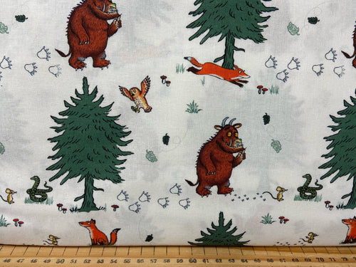 fabric shack sewing quilting sew fat quarter cotton patchwork quilt julia donaldson the gruffalo woods woodland fox owl mouse walk in the woods white