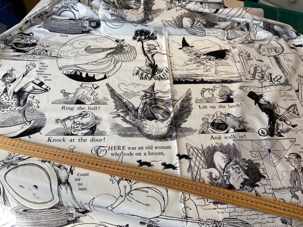 fabric shack sewing quilting sew fat quarter cotton patchwork quilt j wecker frisch goose tales nursery rymes macabre goth gothic panel library books glasses spectacles (9)