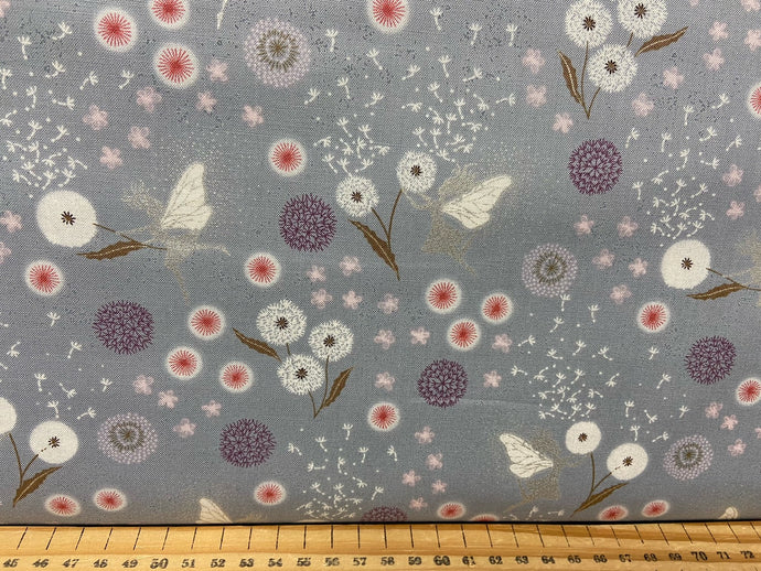 fabric shack sewing quilting sew fat quarter cotton patchwork quilt lewis & and irene fairy fairies clocks metallic fairies & dandelion plants metallic blue grey flowers floral