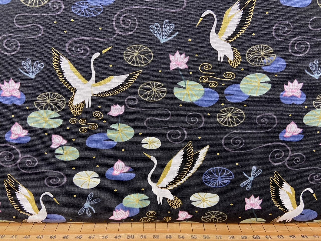 fabric shack sewing quilting sew fat quarter cotton patchwork quilt lewis & and irene jardin de lis garden d lise heron lake draongfly metallic stars lilly lillie pond oriental 6