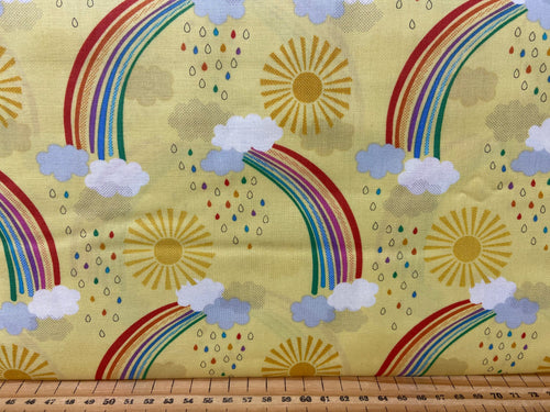 fabric shack sewing quilting sew fat quarter cotton patchwork quilt lewis & and irene rainbows sunshine clouds metallic metalic elephants stars dots polka spots rain raindrops sun rose gold