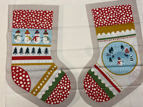 fabric shack sewing quilting sew fat quarter cotton patchwork quilt lewis & and irene snow day christmas stocking panel cream