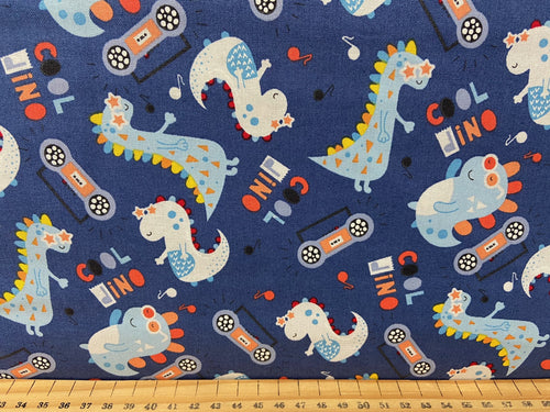 fabric shack sewing quilting sew fat quarter cotton patchwork quilt little dino nursery kids baby babies dinosaur cool dino dark blue
