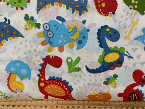 fabric shack sewing quilting sew fat quarter cotton patchwork quilt little dino nursery kids baby babies dinosaur multi white