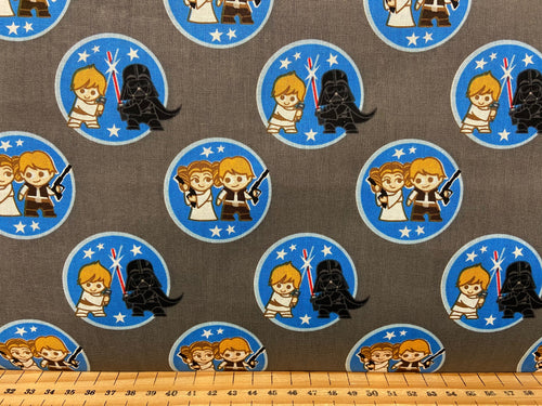 fabric shack sewing quilting sew fat quarter cotton patchwork quilt marvel mini characters darth vader luck skywalker princess leia hans solo kawaii