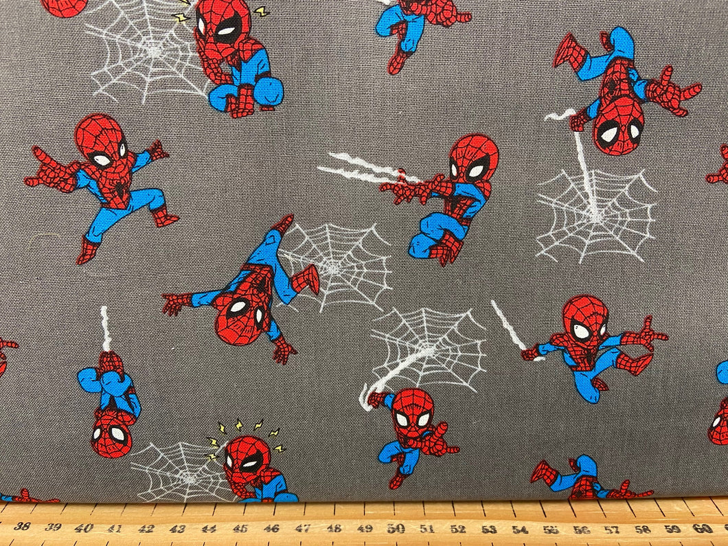 fabric shack sewing quilting sew fat quarter cotton patchwork quilt marvel mini characters spiderman kawaii cute