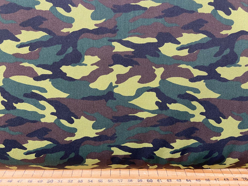 fabric shack sewing quilting sew fat quarter cotton patchwork quilt rose & and hubble poplin jungle green brown cammo cammoflage camouflage