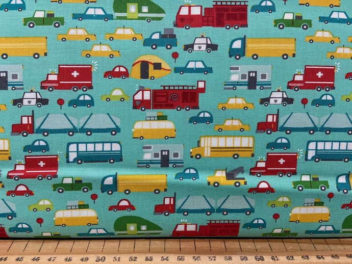 fabric shack sewing quilting sew fat quarter cotton patchwork quilt stacy iest hse moda on the go cars trucks ambulance police car lorry teal jet stream