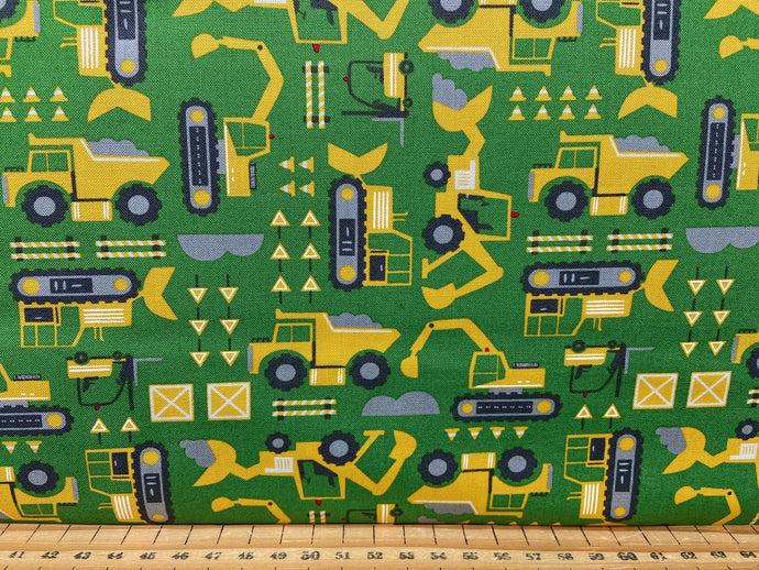 fabric shack sewing quilting sew fat quarter cotton patchwork quilt stacy iest hse moda on the go green light diggers