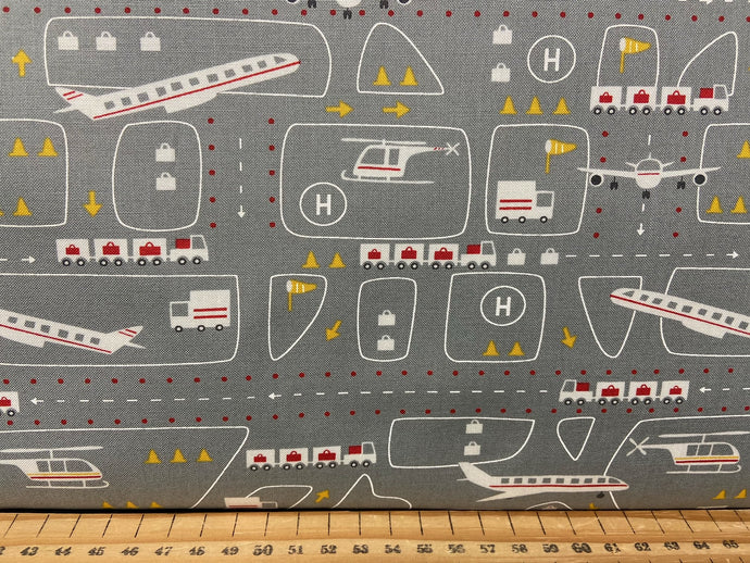 fabric shack sewing quilting sew fat quarter cotton patchwork quilt stacy iest hse moda on the go planes aeroplanes airport grey
