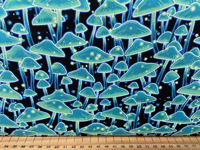 fabric shack sewing quilting sew fat quarter cotton patchwork quilt studio e midnight soiree glow in the dark mushroom toadstool forest wood nymph fairy fairies leaves navy blue 2