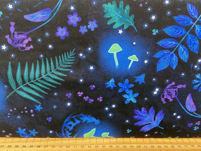 fabric shack sewing quilting sew fat quarter cotton patchwork quilt studio e midnight soiree glow in the dark mushroom toadstool forest wood nymph fairy fairies leaves navy blue
