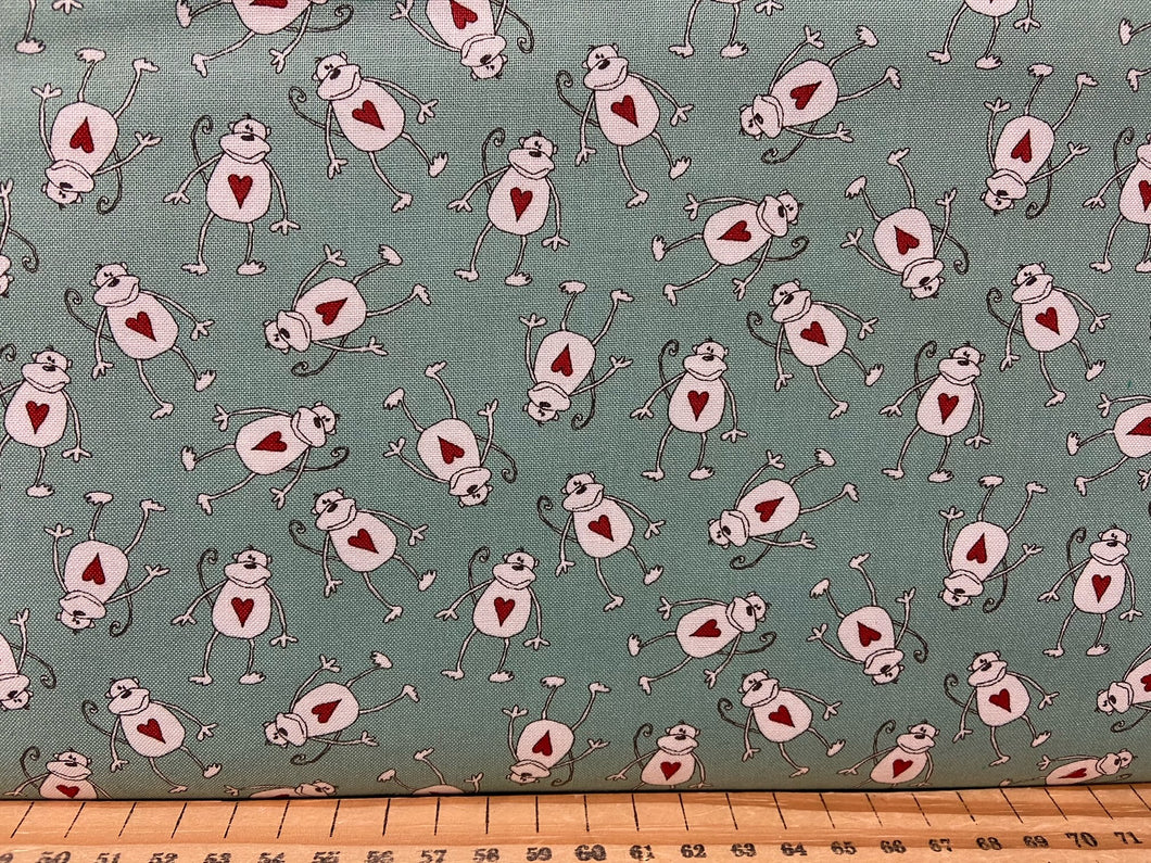fabric shack sewing quilting sew fat quarter cotton patchwork quilt sweetwater sweet water moda animal crackers hearts monkey monkeys turquoise circle polka dots 4