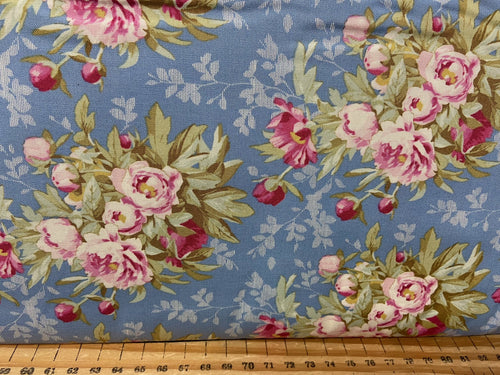 fabric shack sewing quilting sew fat quarter cottonpatchwork quilt tone finnanger tilda woodland flower floral ditsy peony peonies fox bear stag peony hazel blue