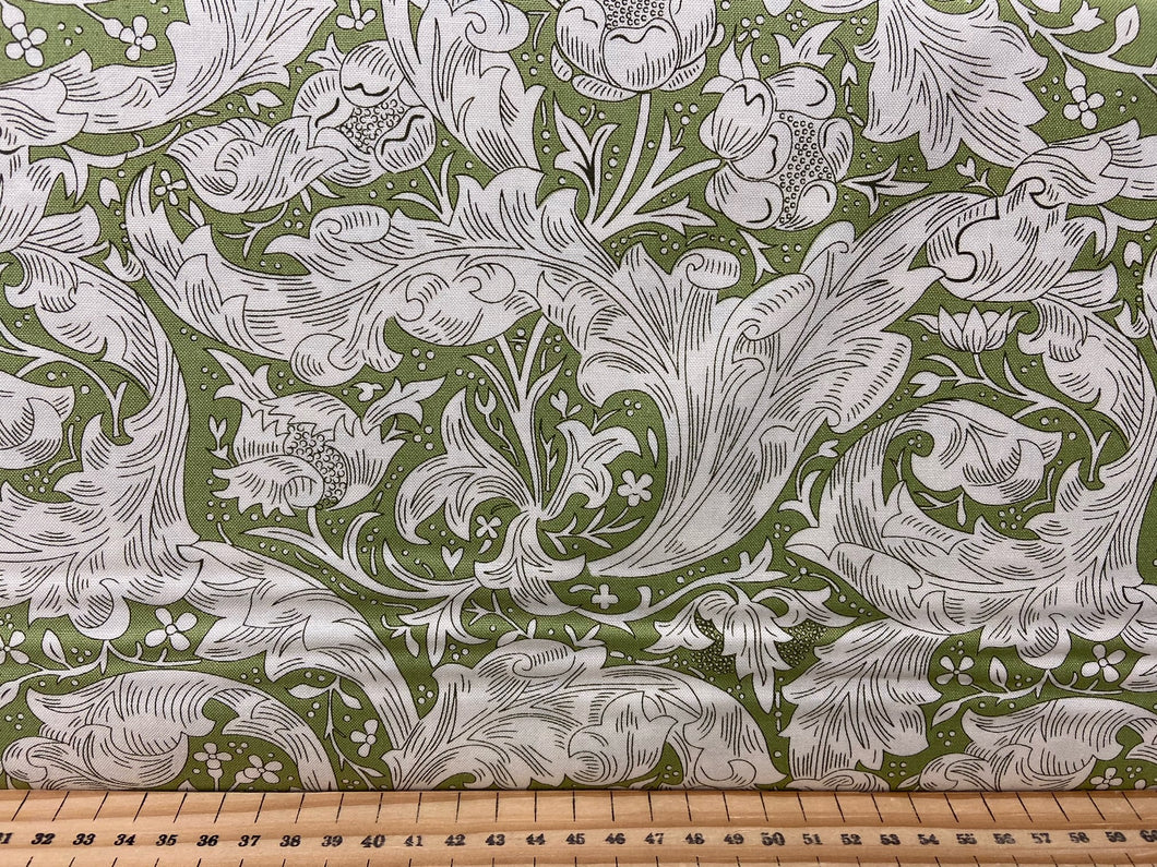 fabric shack sewing quilting sew fat quarter cotton patchwork william morris v & a victoria and albert classic floral flowers bachelors fern