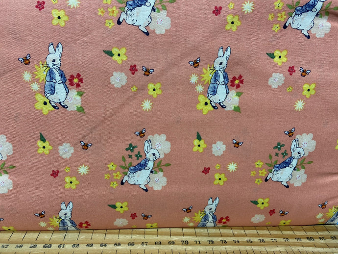 fabric shack sewing quilting sew fat quarter cotton quilt beatrix potter peter rabbit spring flowers wreath pink lemon white bumble bee butterfly 4