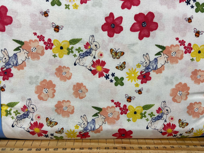 fabric shack sewing quilting sew fat quarter cotton quilt beatrix potter peter rabbit spring flowers wreath pink lemon white bumble bee butterfly 5