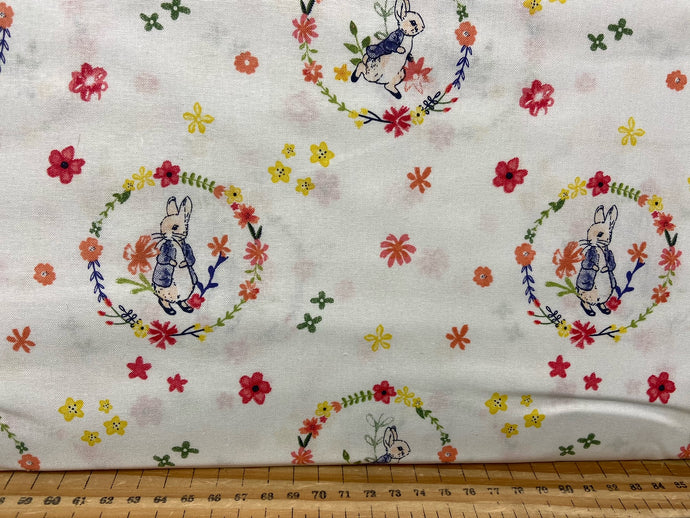 fabric shack sewing quilting sew fat quarter cotton quilt beatrix potter peter rabbit spring flowers wreath pink lemon white bumble bee butterfly