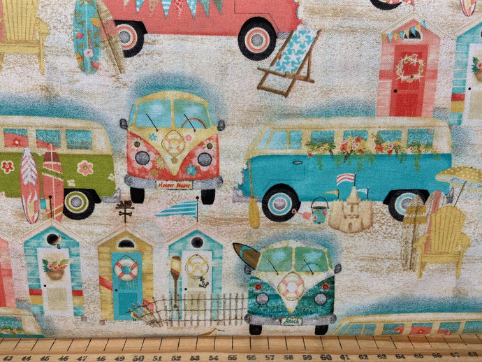 fabric shack sewing quilting sew fat quarter cotton quilt beth albert 3 three wishes beach travel campervan camper van bus vw