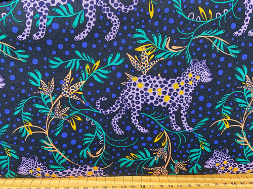 fabric shack sewing quilting sew fat quarter cotton quilt bethany salt tropical leopard print jungle purple bright funky 2