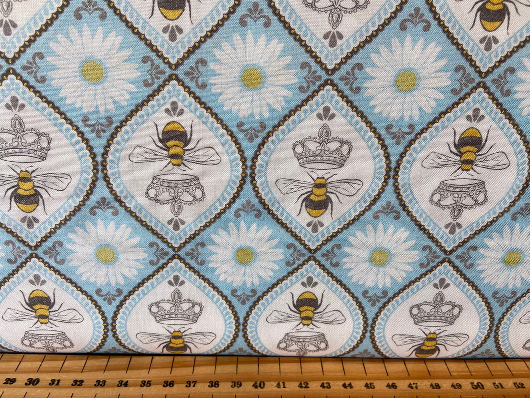 fabric shack sewing quilting sew fat quarter cotton quilt diane kappa michael miller queen bee bumble bee crown hexagons hexies honeycomb blue yellow grey gray black 4