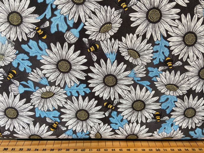 fabric shack sewing quilting sew fat quarter cotton quilt diane kappa michael miller queen bee bumble bee crown hexagons hexies honeycomb blue yellow grey gray black