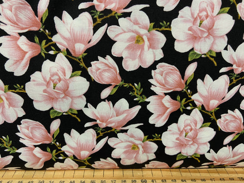 fabric shack sewing quilting sew fat quarter cotton quilt jackie robinson animas quilts benartex accent on magnolias magnolia allover blooms coral pink