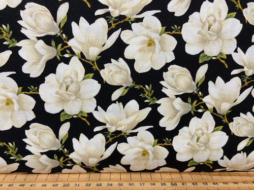 fabric shack sewing quilting sew fat quarter cotton quilt jackie robinson animas quilts benartex accent on magnolias magnolia allober blooms cream