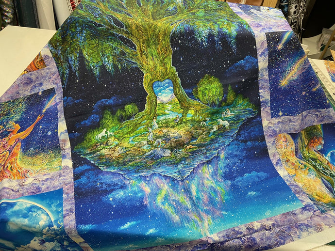 fabric shack sewing quilting sew fat quarter cotton quilt josephine wall for 3 three wishes celestial journey large multi panel tree of life unicorn fairy swan 4