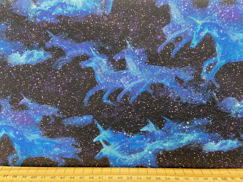fabric shack sewing quilting sew fat quarter cotton quilt josephine wall for 3 three wishes celestial journey unicorn night flight stars constellation