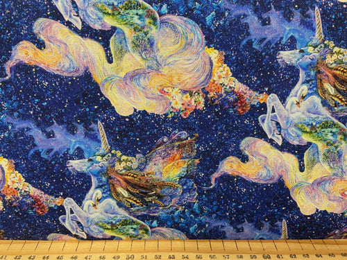 fabric shack sewing quilting sew fat quarter cotton quilt josephine wall for 3 three wishes celestial journey unicorn swan fairy