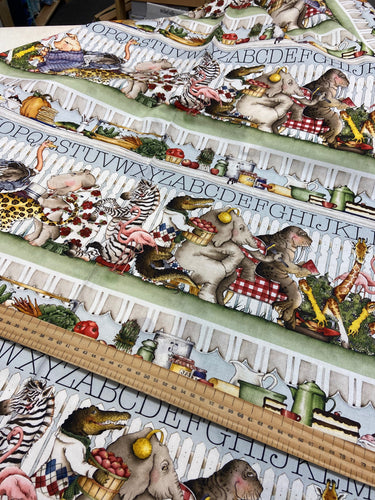 fabric shack sewing quilting sew fat quarter cotton quilt j wecker frisch riley blake hungry animal alphabet quiet book panel animals zoo exotic zebra rhino hippo zebra 10