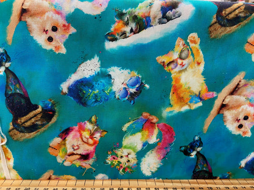 fabric shack sewing quilting sew fat quarter cotton quilt patchwork 3 three wishes good kitty cat kitten graffiti cool cat panel sunglasses