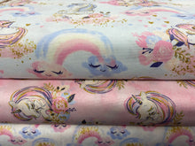 fabric shack sewing quilting sew fat quarter cotton quilt patchwork 3 three wishes unicorn utopia rainbow rainbows clouds metallic gold flowers