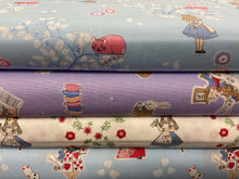 fabric shack sewing quilting sew fat quarter cotton quilt patchwork alice in wonderland alices adventures cheshire cat light blue