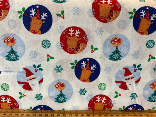 fabric shack sewing quilting sew fat quarter cotton quilt patchwork christmas holidays fun owl christmas tree rudolph reindeer snowflake trees caravan owl santa father 4