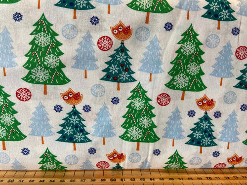 fabric shack sewing quilting sew fat quarter cotton quilt patchwork christmas holidays fun owl christmas tree rudolph reindeer snowflake trees caravan owl santa father