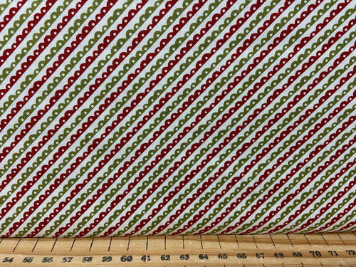 fabric shack sewing quilting sew fat quarter cotton quilt patchwork christmas holidays moda the card modern diagonal stripes red green sweetwater