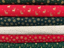 fabric shack sewing quilting sew fat quarter cotton quilt patchwork christmas metallic red green holidays stars baubles trees snow snowflake snowflakes stag 6