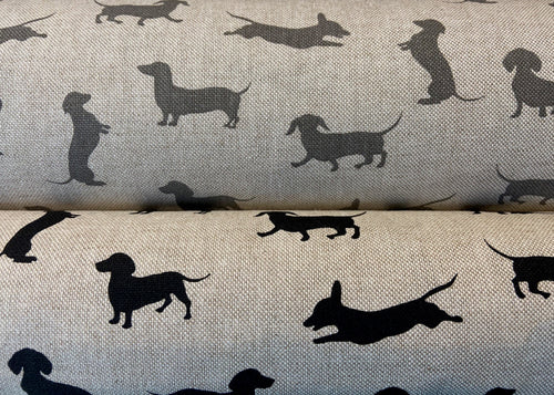 fabric shack sewing quilting sew fat quarter cotton quilt patchwork dachshund daxie sausage dog black grey linen look natural (2)