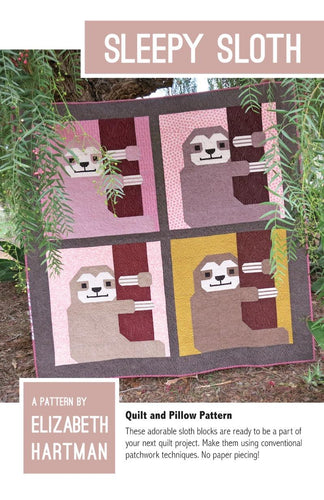 fabric shack sewing quilting sew fat quarter cotton quilt patchwork elizabeth hartman block piece sleepy sloth