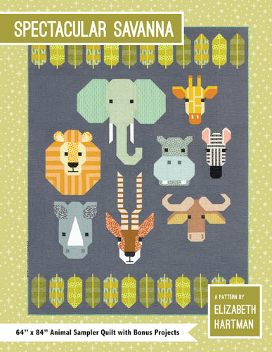 fabric shack sewing quilting sew fat quarter cotton quilt patchwork elizabeth hartman block piece spectacular savannah savanah lion elephant zebra hippo gazelle (2)