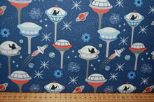 fabric shack sewing quilting sew fat quarter cotton quilt patchwork lewis & and irene light years glow in the dark space spaceship station stars planets constellations city blue black