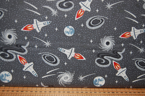 fabric shack sewing quilting sew fat quarter cotton quilt patchwork lewis & and irene light years glow in the dark space spaceship station stars planets constellations city blue black (4)